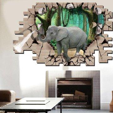 3d Elephant Forest Living Room Bedroom Animals Floor Home Background