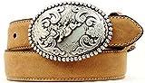 Nocona Boy's Bucking Bull Buckle Belt, Medium Brown Distressed, 28