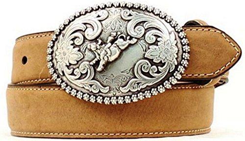 Nocona Boy's Bucking Bull Buckle Belt, Medium Brown Distressed, 26 from Nocona Boots