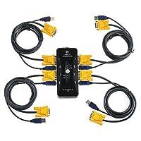 AUTOUTLET USB 2.0 KVM Switch Box,4 Port KVM Switcher with 4pcs 5ft KVM USB VGA Cables for Computer/Keyboard/Mouse Monitor