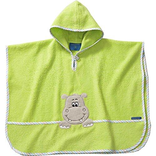 Morgenstern, hochwertiger Frottee - Bade - Poncho aus 100 % Baumwolle, Farbe grün Motiv Nilpferd, Hippo, Größe one size (ca. 1 bis 3 Jahre)