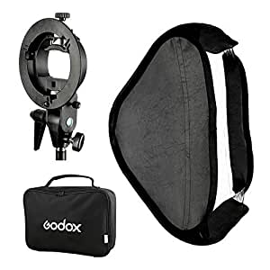 GODOX Softbox 80X80cm Folding Softbox 32 Inch Speedlight Studio Flash Softboxes Kit with Bowens S type Bracket Mount for Photography