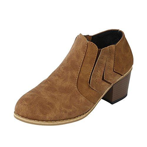 Sonnena Damen Elegant Schnalle Lederstiefel Warm Faux-Stiefel Sexy High Heels Einzelne Stiefel Martin Stiefel Schnürer Low-Top Boots Mode Frauen Schuhe 35-43 Gelb