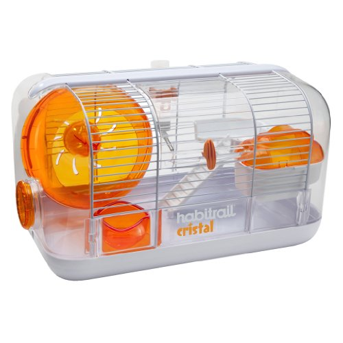 Hamster Gerbil Mouse Cage - Habitrail Cristal Hamster Cage, Small Animal Habitat with Hamster Wheel, Water Bottle and Hideout
