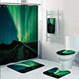 Bathroom 5 Piece Set shower curtain 3d print Multi Style,Northern Lights,Wooden Bridge Solar Sky Scenic Radiant Rays Arctic Magic Scenery,Fern Green Dark Blue,Bath Mat,Bathroom Carpet Rug,Non-Slip,Bat