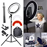 YISITONG Camera Photo/Video 35W 5500K 240PCS LED Bulb 12' Dimmable LED Stepless Adjustable Ring Light with 200cm Stand for Studio Makeup Beauty Selfie Video Photo Lighting + Phone Clamp,Tripod Head,Carry Bag