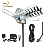Outdoor TV Antenna 150 Miles Amplified Digital HDTV Antenna with 360°Rotation,Wireless Remote Control