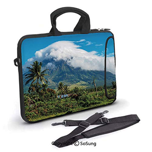 17 inch Laptop Case,Mayon Volcano Mountain Peak Surrounded with Clouds Greenery Asian Landmark Decorative Neoprene Laptop Shoulder Bag Sleeve Case with Handle and Carrying & External Side Pocket,for N (Cute Asian Shoulder Bags)
