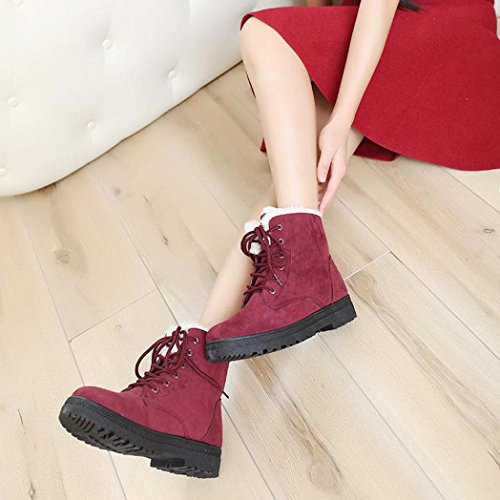 Tefamore Zapatos Planos de Mujer Botines Botas de Nuevo Clásico Otoño Invierno Rojo