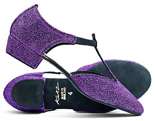 Ladies Black Pink Or White Greek Sandal Dance Teaching Jive Salsa Cerco Shoes By Katz Dancewear Purple 33vbFInz