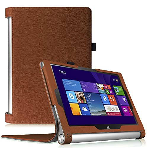 Fintie Lenovo Yoga Tablet 2 (10,1 Zoll FHD IPS) Hülle Case Cover Tasche Etui - Folio Kunstleder Schutzhülle mit Auto Sleep / Wake (geeignet für Lenovo Yoga Tablet 2-10 25,7 cm Tablet (Android und Windows Version), Braun