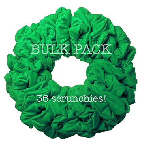 36pc Bulk Cotton Scrunchies by the Color, wholesale scrunchie pack, team color scrunchy hair tie packs (Kelly Green) ()