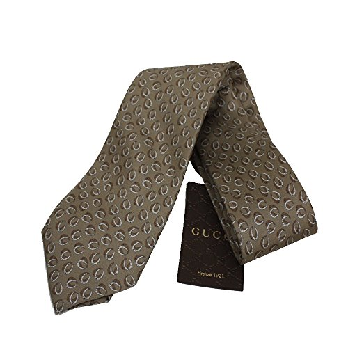 Gucci Men's Henning Horseshoe Patterned Beige Twill Necktie for Men 323829