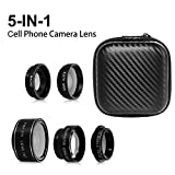 SIMTRIX 5 in 1 Macro phone lens kit for iphone ,Samsung Galaxy & android samrtphone &tables with Wide Angle Lens, Fisheye Lens, Polarizer Lens and Telephoto Lens