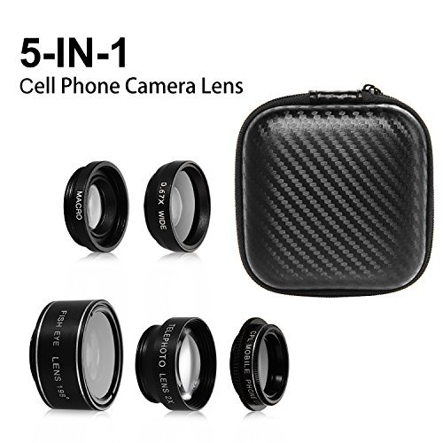 SIMTRIX 5 in 1 Macro phone lens kit for iphone ,Samsung Galaxy & android samrtphone &tables with Wide Angle Lens, Fisheye Lens, Polarizer Lens and Telephoto Lens by SIMTRIX