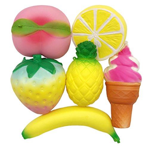 Umbo Set (Huastyle Pack of 6 Kawaii Jumbo Slow Rising Fruits Set Rainbow Strawberry Peach Banana Lemon Pineapple and Ice Cream Squishies Cute Charms Stress Relief Toys Gifts)