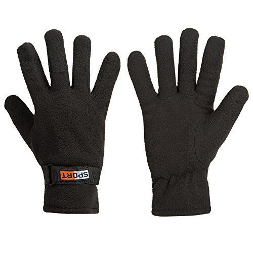 Black Polar Fleece Liner (GLOUE Winter Gloves Winter Keep Warm Soft Fleece Lined Gloves Multiple Color for Men(Black))