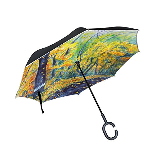 Glass Patterns Reverse Painting (Top Carpenter Double Layer Reverse Inverted Umbrellas Painting Of Autumn Landscape With C-Shaped Handle for Car Outdoor)