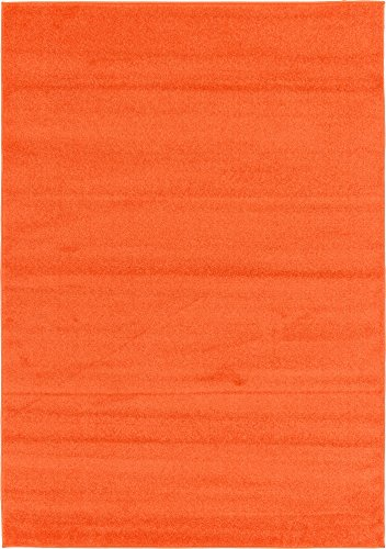 Modern 5 feet by 8 feet (5' x 8') Solid Basic Orange Contemporary Area Rug