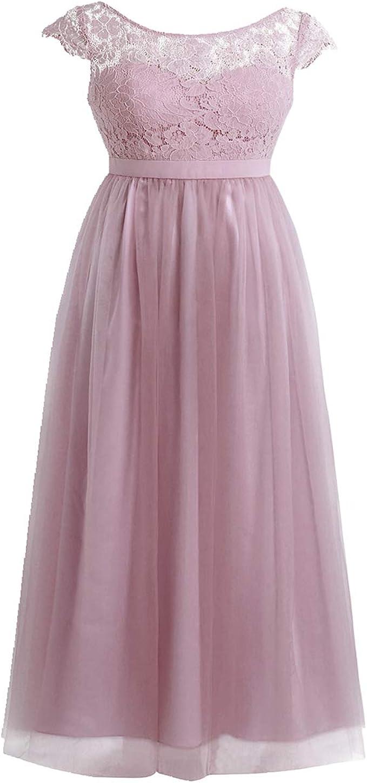 iiniim Damen Cocktailkleid Partykleid Sommerkleid Spitzenkleid Tüll  Brautjungfer Hochzeitskleid Faltenrock Langes Abendkleid Festlich Kleid