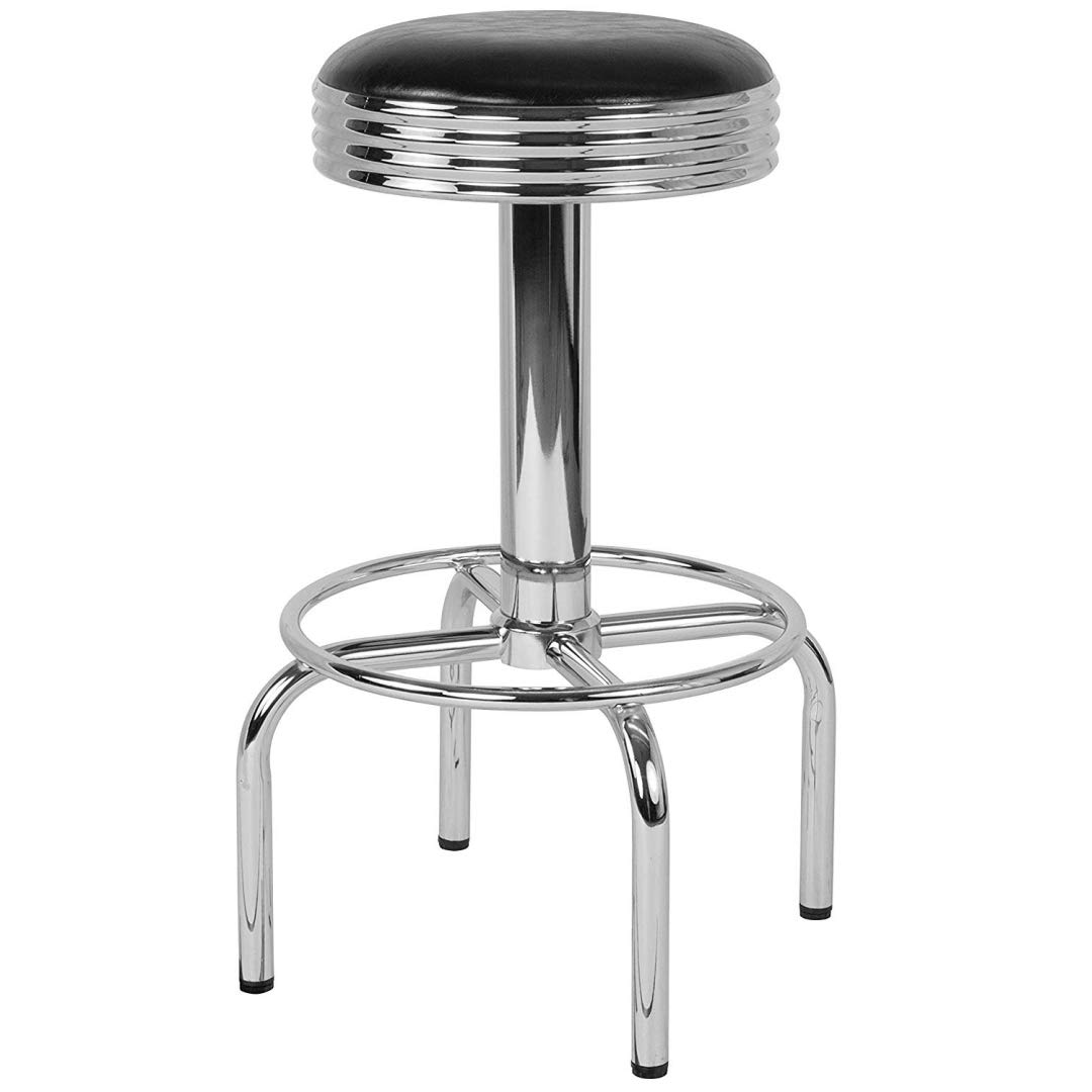 Modern Classic Design Metal Dining Round Backless Barstools Extra Wide Quadruple Base Lounge Diner Restaurant Commercial Seats Home Office Furniture - (1) Black Vinyl Seat #2203