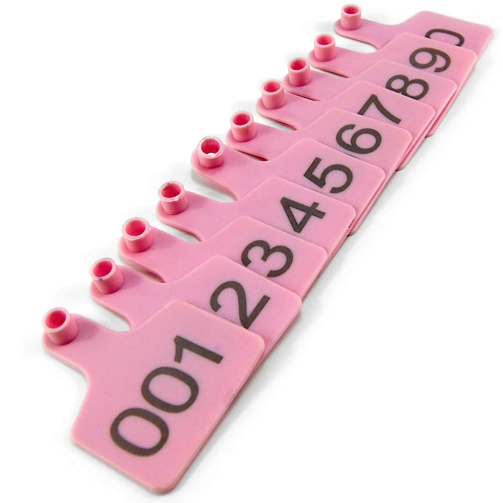 Pink Numbered Plastic Livestock Cow Cattle Ear Tag Animal Tag (Pack of 100pcs) by SSEAL