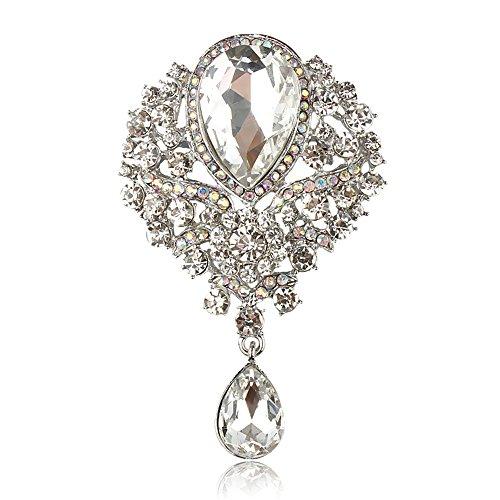 Reizteko Wedding Bridal Big Crystal Rhinestone Bouquet Brooch Pin for Women (Crystal)