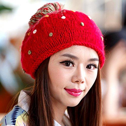 en Maozi Ola Invierno Encantadora Sombrero White de Bola Coreana Gran RED del Knit Color y de del de otoño Boina Frijol rrqXd