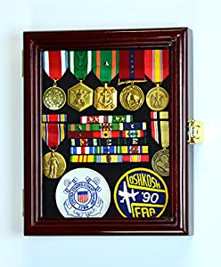 XS Military Pin Display Case Cabinet Box for Medals Pins Patches Insignia Ribbons Badges w/98% UV Lockable