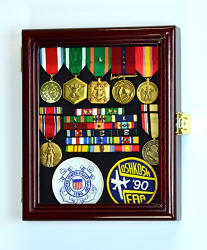 XS Display Case Cabinet Box for Military Medals Pins Patches Insignia Ribbons w/UV Protection -Cherry