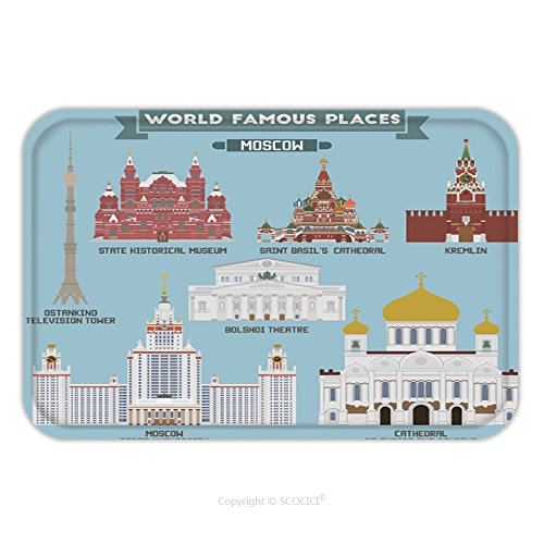 Designers Modern Theatre Costume (Flannel Microfiber Non-slip Rubber Backing Soft Absorbent Doormat Mat Rug Carpet Famous Places Of Moscow Russia Kremlin Bolshoi Theatre St Basil S Cathedral Moscow University 462354475 for)
