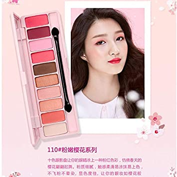 Amazon.com : 10 Color Peach Matte Eyeshadow Palette For Red Shadows Korean Makeup Brand Pink Cherry Blossom Glitter Eyes Shadows Palet 110 : Beauty
