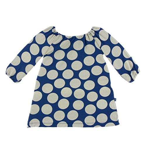 (Kickee Pants Little Girls Print Long Sleeve Peasant Dress, Navy Mod Dot, 18-24 Months)