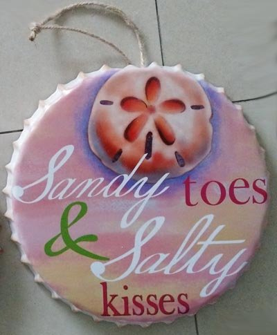 Antiqued Sandy - Sand Dollar Bottle Cap Shaped Metal Wall Art ' Sandy Toes and Salty Kisses'