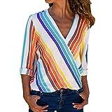Women's Sexy Tops, NEARTIME Women Fashion V-Neck Long Sleeve Multicolor Striped Irregular Blouse Rainbow Tops T-Shirt