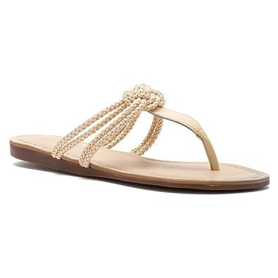 Sebago Women's Poole Ivory Leather Knot Flip Flop Sandals, ...