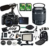 Canon EOS Rebel T6i DSLR Camera Bundle with Canon EF-S 18-55mm f/3.5-5.6 IS STM Lens + 2pc 32 GB SD Cards + Microphone + LED Light
