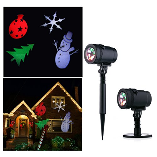 Led Christmas Projector Light Show Indoor and Outdoor Use Projection Light for Home Wall Lawn Courtyard Party (Four Jolly Santa Ornaments)