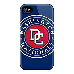 Anti-Scratch Cell-phone Hard Covers For Iphone 4/4s With Customized Trendy Washington Nationals Skin ChristopherWalsh