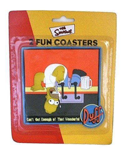 The Simpsons Duff Beer Homer drink Coasters set of 2 - Homer Simpson Duff Beer