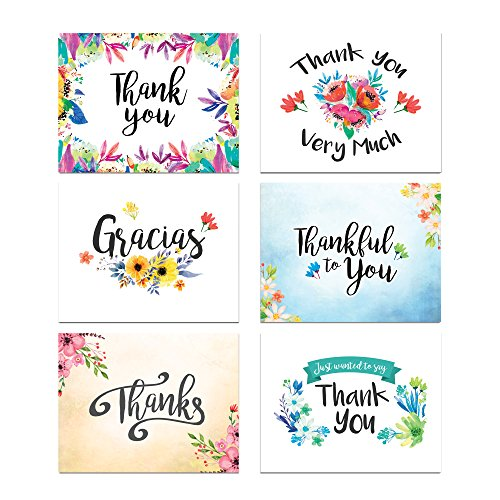 Water Colors Flowers Thank You Card Assortment Pack - Set of 36 cards blank inside - 6 designs blank inside - with white envelopes
