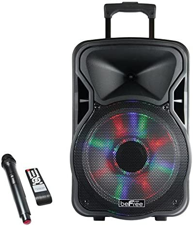 """beFree Sound BFS-5800 Bluetooth Rechargeable, Social gathering Speaker with Illuminating Lights, 15"""" W, blue"""