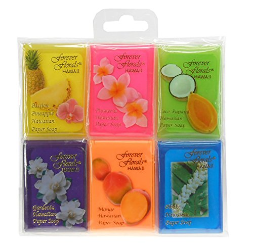 Tikimaster 6-PACK HAWAIIAN SCENTED PAPER SOAP - ASSORTED TRAVEL SET