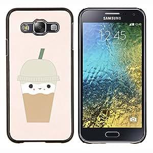 TECHCASE---Cubierta de la caja de protección para la piel dura ** Samsung Galaxy E5 E500 ** --helado corazón del café marrón lindo