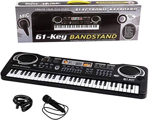 Shayson Teclado de Piano Para Niños Multifunción 61 Teclas Piano Organo Electrónico Música Teclado de Karaoke Micrófono Regalo de Navidad Para Niños ...
