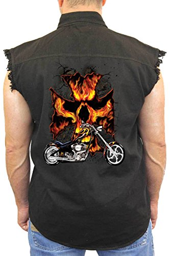 (Men's Sleeveless Denim Shirt Motorcycle Flames Skull Cross Biker: Black)