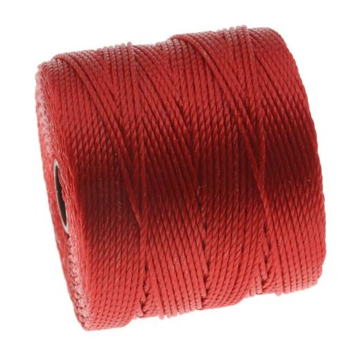 Beadsmith 77-Yard Spool Super-Lon Twisted Nylon Cord, Size No.18, Shanghai Red