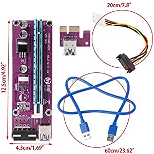 Amazon.com: Hariier Purple 60cm PCI Riser Card PCI-E 1x to