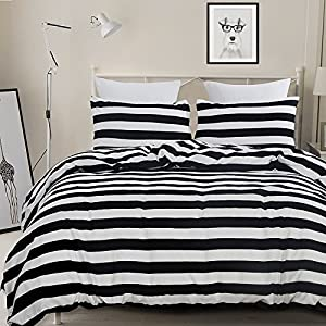 Vaulia Lightweight Microfiber Duvet Cover Set, Black and White Stripe Pattern Design - Twin Size