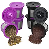 6 Pack Reusable Mesh Coffee Filter Pods for Keurig 2.0 & 1.0 Brewer, Universal Refillable Single Cup Replacement Fits K15, K55, K145, K250, K300/K350, K400/K450/K460, K500/K550/K575, Keurig K-Elite